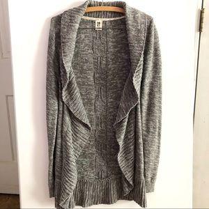 Roxy Gray Open Knit Shawl Collar Cardigan X-Large